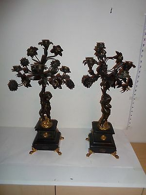 Lot of 2 Antique RARE Bronze & Marble & Brass  Cherub Candelabra Candle Holders