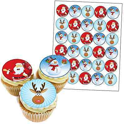 30 x 40mm MIXED PREMIUM CHRISTMAS EDIBLE Rice Paper Cake Toppers FREE P&P D4