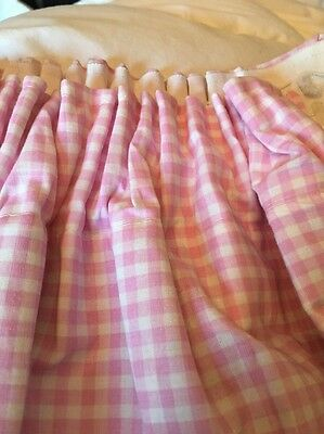 Pink Gingham Blackout Lined Curtains With Tie Backs.