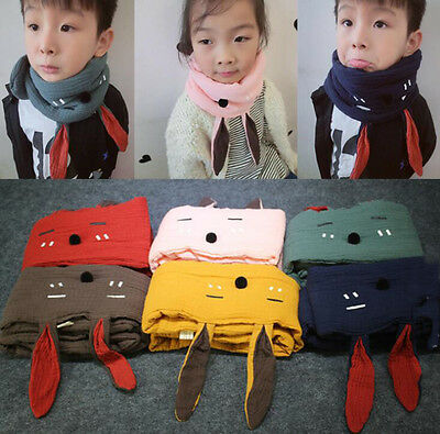 Kid Baby Winter Scarf Rabbit Earflap Neckerchief Plaid Solid Color Scarf Warm Mu