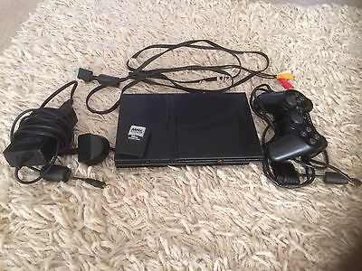 Black Sony Playstation 2 Slim PS2 Console PAL With 17 Games