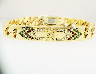 "18ct Yellow Gold 7"" Diamond, Ruby & Emerald 'Sultan Of Oman' Curb 10mm Bracelet"