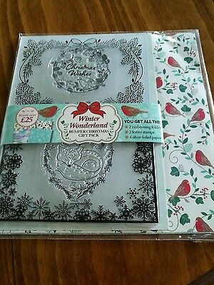 Winter wonderland stamps, embossing folder and papers