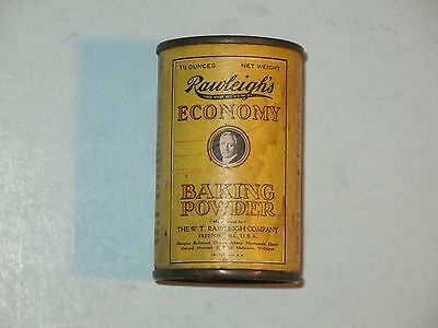 rare OLD ~ RAWLEIGH'S BAKING POWDER TIN / PAPER LABEL ~ 1.3/4 ounce ~ vhtf