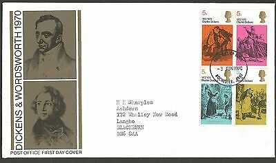 """GB stamps three first day covers """"Dickens & Wordsworth"""" 1970"""
