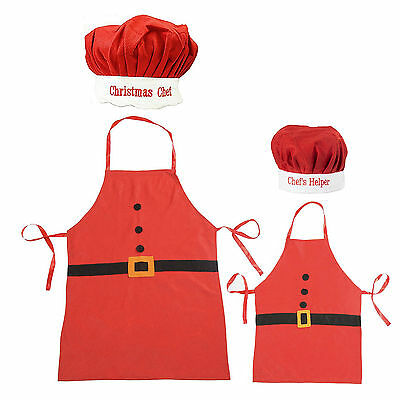 Adult & Kids Christmas Santa Apron and Chef Hat Set (Xmas Chef & Chef's Helper)