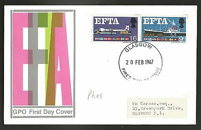 """GB stamps first day cover """"EFTA"""" 1967"""