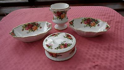 c1980's ROYAL ALBERT 4 items PIN DISH,2 x HORS-D'OURVES & VASE OLD COUNTRY ROSES