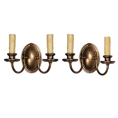 Understated Pair of Antique Two Arm Brass Sconces, Colonial Revival, NSP922