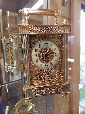 French Carriage Clock Fully Restored With The mega Rare Three Gilded Flower Pnls
