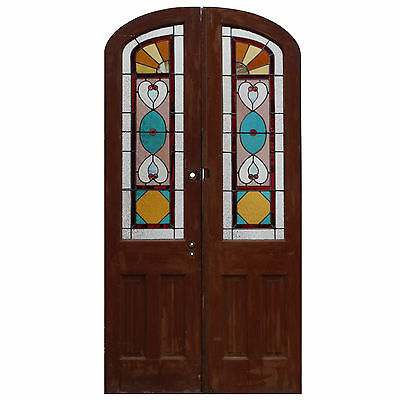 Charming Pair of Antique Doors with Jeweled Stained Glass, c. 1890, NED498