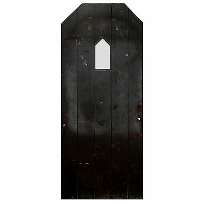 "Salvaged Antique 36"" Plank Door with Unusual Window, NED615"
