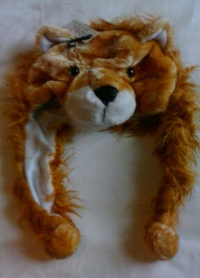 Ladies Childrens Faux Fur Fluffy LION Animal Hat with Snood BNWT