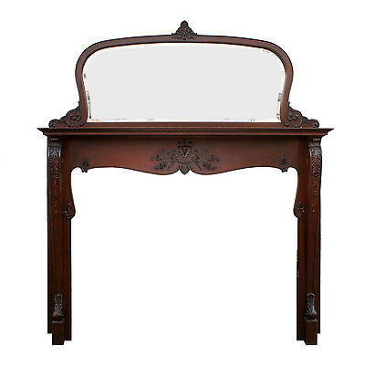 Antique Neoclassical Mahogany Mantel with Beveled Mirror, NFPM142