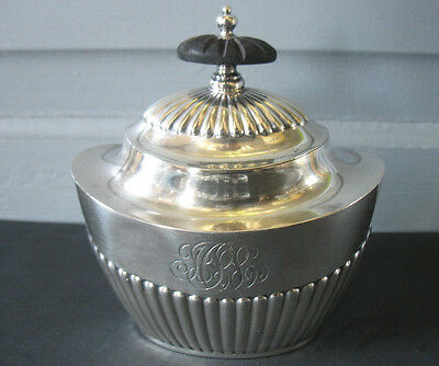 Black Starr & Frost USA Sterling Silver Tea Caddy Queen Anne Ebony knob fluted