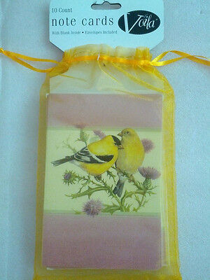 30 Goldfinch Blank Note Cards w/ Envelopes in Organza Bags NEW Voila NWT birds