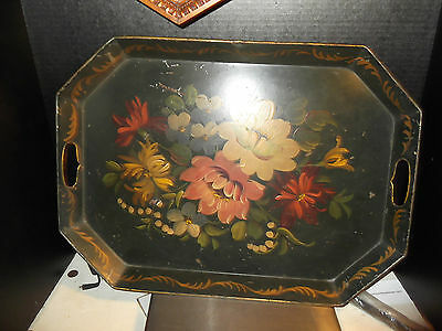 """Antique Large 22"""" X 16"""" Toleware Hand Painted Floral Tray"""