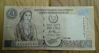 Cyprus One Pound £1 Banknote 1998 Series