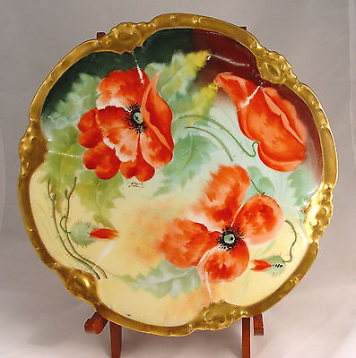 Lovely Antique, Hand-painted Limoges Plate, Poppies @1910 Coronet Mark