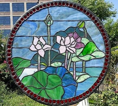 19'' Tiffany Style Leaded stained glass window Jeweled Slag Glass panel  BEAUTY!