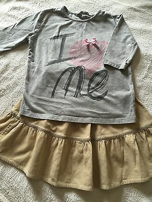 Girls Gorgeous Beige Cord Skirt And Grey T-shirt,age 3-4,excellent condition