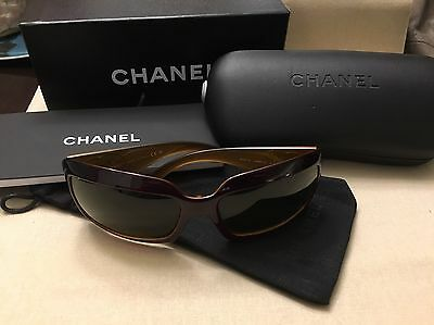 Authentic Chanel Sunglasses Brown Plastic with Case and Box