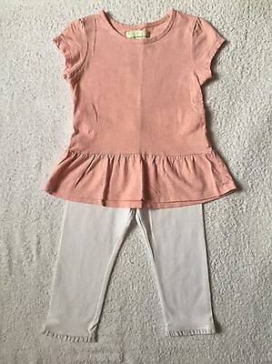 Girls Beautiful Powder Pink Top & White Leggings With Lace Trim,age 3-4