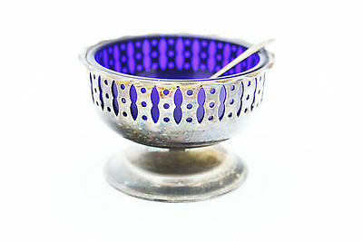 Vintage Blue Glass Silver Plated Metal Bon Bon Dish  EPNS YEOMAN made in england