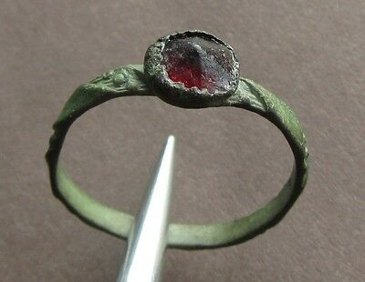 Ancient bronze ring with glass pane burgundy!