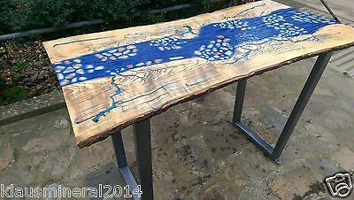 Modern Desk Table Solid Ash Wood, River Epoxy Resin Dining Table