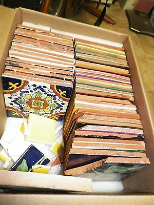 42 asorted Handmade mexican Talavera tiles for mosaic