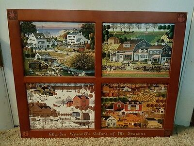 CHARLES WYSOCKI'S COLORS OF THE SEASONS Tiles Set Of 4 With Frame COA