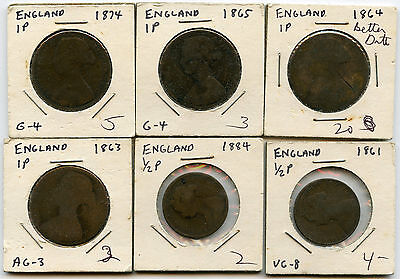 Great Britain 1800's Copper Pennies & Half Pennies Lot of 6 Nice Original Coins
