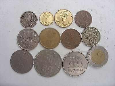 Lot Of 12 Portugal Coins 20 Centavos-100 Escudos 1953-2000(All Coins Different)