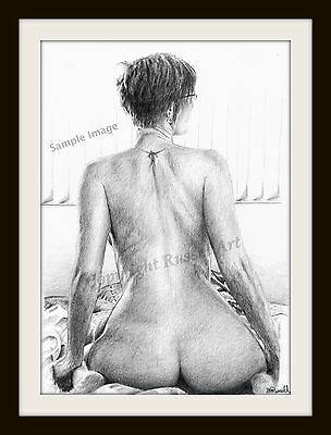 Morning Beauty Nude Erotic Female Signed S Russell Art Print of original drawing