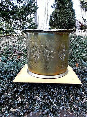 Huge Vintage / Antique Brass  Etched & CHased Jardiniere