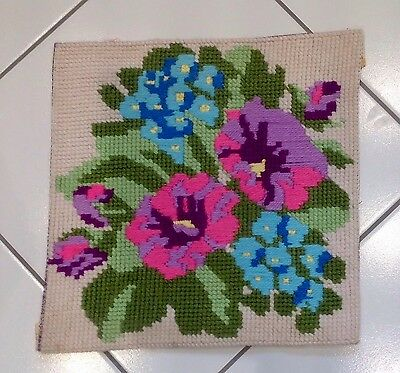 """VINTAGE COMPLETED NEEDLEPOINT TAPESTRY FLOWERS  16""""x16"""" CUSHION INSERT"""