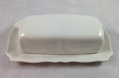 Sears Harmony House Federalist White Ironstone Vintage Covered Butter Dish