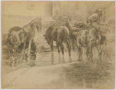 "Ferdinand Karl Gold (b.1882) ""At the Horse-Pond"", Drawing, ca.1920"