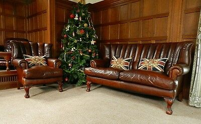 Tetrad Blake Antique Brown Leather Chesterfield Suite 2/3 Seater Sofa & Armchair