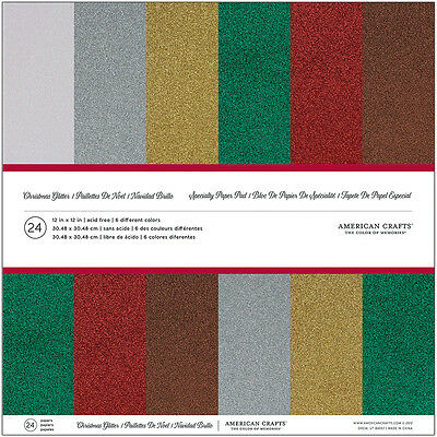 "American Crafts Glitter Cardstock Pack 12""X12"" 24/Pkg-Christmas"