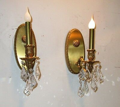 Vintage Bronze Pair of  Oval Sconces with Crystals Rewired Brass Lights