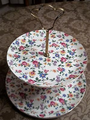 Royal Tudor Ware Chintz Floral- 2 Tier Cake/dessert Stand-England Barker Bros