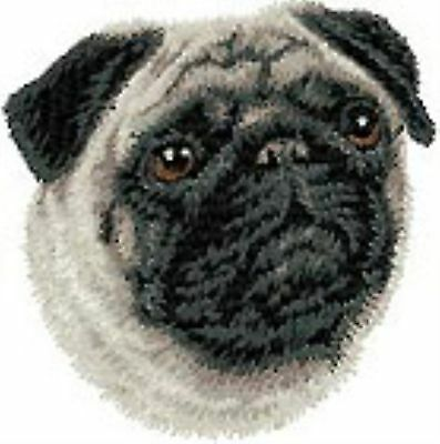Pug Head Portrait Embroidery Patch (ee)
