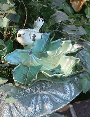 Victorian Trading Co White Sparrow Bird on Green Maple Leaf Pottery Dish