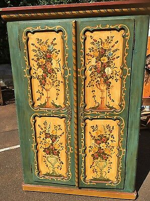 Antique Painted Wardrobe Cupboard Storage Armoire Shop Display Bohemian Boudoir