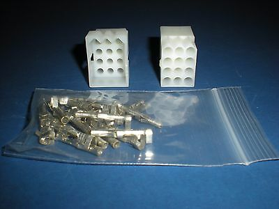 "12 Pin Molex Connector Lot, 1 Matched Set, w/14-20 AWG .093"" Pins, Free Hanging"