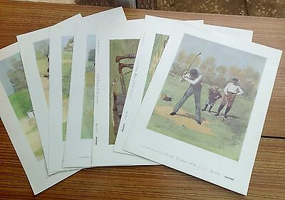 7x Vintage Lithograph Golf Poster Prints Collectable AB FROST 33cm By 45cm