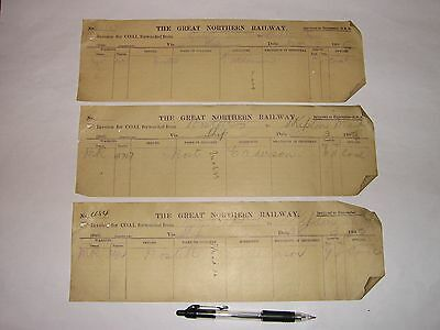 Nostell Station, Great Northern Railway: 3 Coal Invoices from 1895.