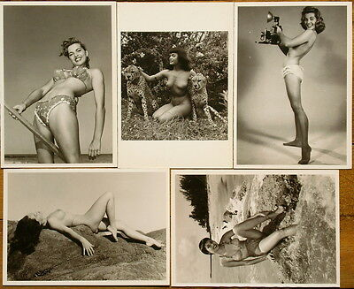 LOTE 5 Postales de BUNNY YEAGER (Betty Page) - Pin Up - Out of print 5 postcards